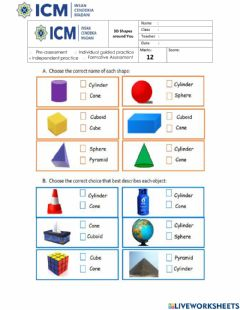 Interactive worksheet WS 3D Shapes around You