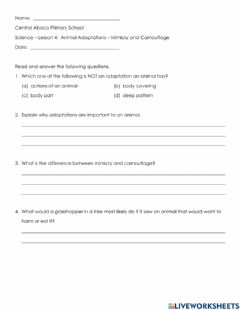 Interactive worksheet Animal Adaptations Mimicry or Camouflage
