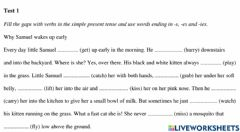 Interactive worksheet Present simple-third person