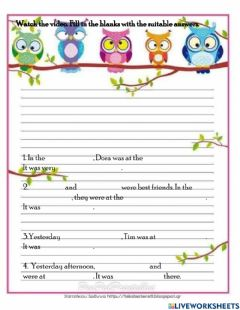 Interactive worksheet Unit 8 : WHERE WERE YOU YESTERDAY?
