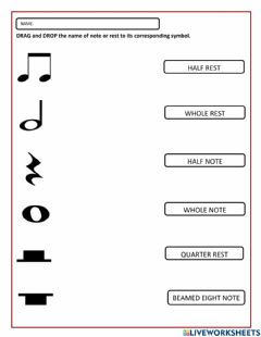Ficha interactiva Note and Rest Symbols Activity For Grade 3