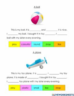 Ficha interactiva A ball and a toy plane
