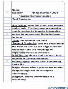 Interactive worksheet Text Features Notes