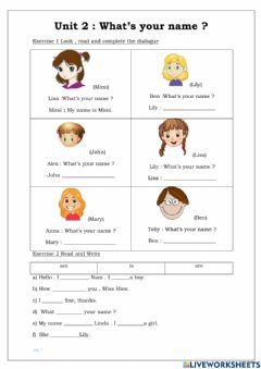 Interactive worksheet Unit 2:what is your name?