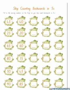 Ficha interactiva Counting by 5s backwards