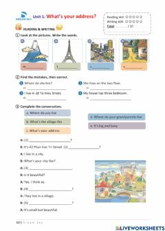 Interactive worksheet Grade 5 - Unit 1: What's your address?