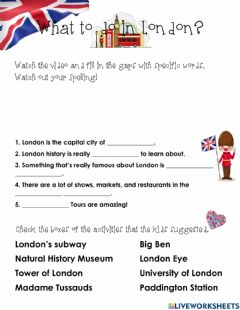 Interactive worksheet What to do in London