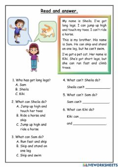 Interactive worksheet Read and Answer (Can-Can't)