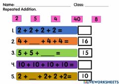 Interactive worksheet Repeated Addition