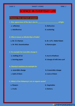 Interactive worksheet Science in everyday life, class - 5