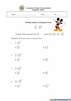Ficha interactiva Writing Numbers in Exponent Form