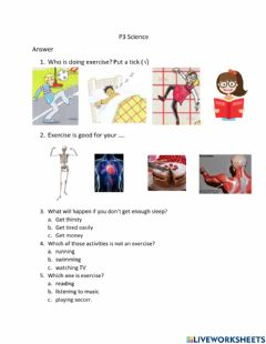 Interactive worksheet P3 Science exercise and sleep