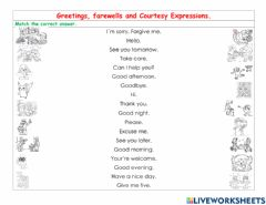 Interactive worksheet Greetings, farewells and Courtesy Expressions