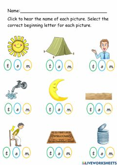 Interactive worksheet Letters M S T
